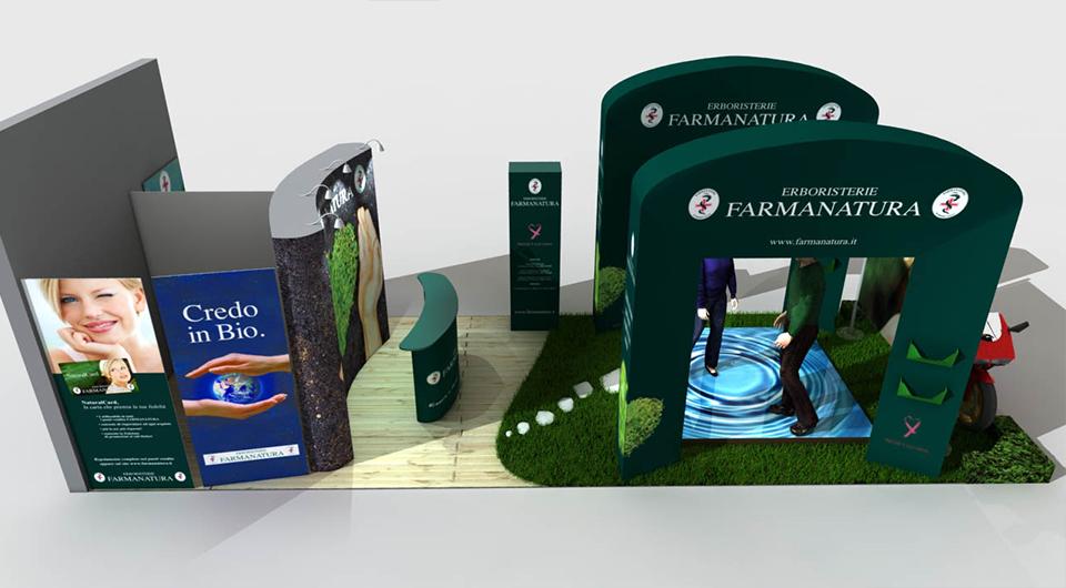Progettazione e Rendering 3d Stand Aziendale Farmanatura
